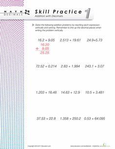 Worksheets: Dizzy Over Decimals: Addition #1