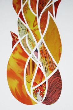 Great paper cut art from recycled comics and other paper sources.  Examples - Pillar of Cloud, Pillar of Fire-detail_Isaacb2 Pillar Of Fire, Dom Bosco, Great Fire Of London, Church Banners, Fire Art, Fire And Ice, Christian Art, Collage Art, Art Lessons