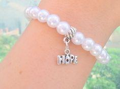 Hope Boho pearl Stretched bracelet boho jewelry by Arielior, $10.00