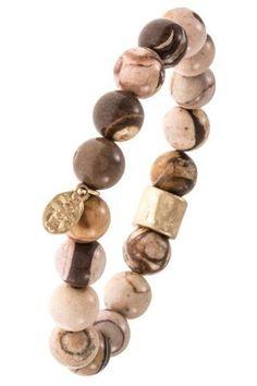 Single Strand Jasper Semi Precious Stone Bracelet