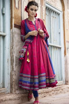 cotton kalidar kurta and jacket with printed butti and border , inspired by Kasuti embroidery technique, in vibrant red and blue by Rangriti Cotton Anarkali, Anarkali Dress, Anarkali Suits, Boho Outfits, Fashion Outfits, Fashion Trends, Fashion Ideas, Indian Dresses, Indian Outfits