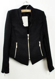 Black Collarless Long Sleeve Zipper Suit - abaday.com