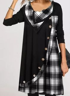 Latest Fashion For Women, Womens Fashion, Fashion Online, Robes Vintage, Vestido Casual, Dress Casual, Plaid Tunic, Tunic Pattern, Buy Dress