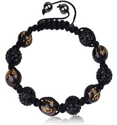 Crystal Bracelet (Black and Gold) only $39.99 can be bought at http://starjewls.com/bracelets/crystal-bracelets/bracelets-micro-pave-cz-disco-ball-bead-black-and-gold.html