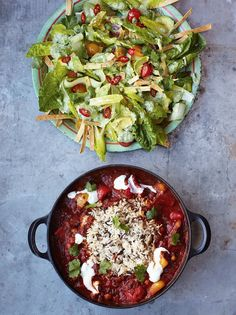 Veggie chilli with crunchy tortilla & avocado salad from Jamie's 15 Minute Meals