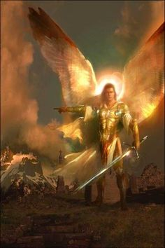 This is most like an angel I once dreamed of.  He was a mighty warrior. (Can't remember the wings, but he definitely had the sword.)