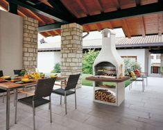 grillkamine palazzetti terrasse überdacht holz regal tirrenia