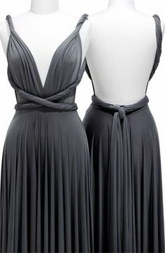 A gray bridesmaids dress that is convertible...to cool! Also then every girl could were the dress her way, but have the exact same color and length...