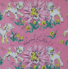 Colorful chicks n eggs vintage easter gift wrap wrapping paper vintage dennison easter gift wrap wrapping by midcenturyaddiction negle Image collections