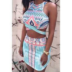 $13.99 Stylish Round Neck Sleeveless Printed Crop Top + High-Waisted Skirt Women's Twinset