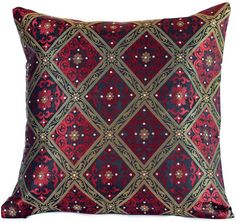 Beautiful Scarlet Red Brocade #Pillow Cover features elegant hand stone work. Decorate your sofas, chairs, and guest rooms. Available in 3 exclusive colors.