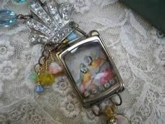 LOVE BIRD repurposed watch case necklace vintage by lilyofthevally