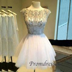 2015 cute white round-neck beaded tulle short prom dress for teens, bridal dress, ball gown, evening dress #promdress #wedding #coniefox