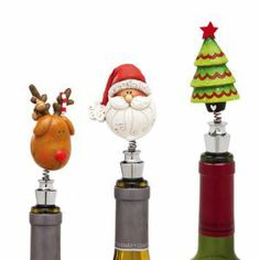 Whimsical 'Happy Holly Days' Bobblehead Wine or Champagne Bottle Stoppers All Things Christmas, Christmas Fun, Christmas Entertaining, Wine Bottle Stoppers, Gifts For Wine Lovers, Cool Bars, Bobble Head, Wine Recipes, Wines