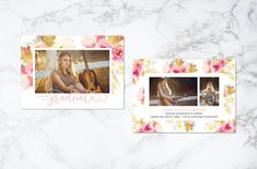 Printable Watercolor Pink Floral Theme Photo Card Graduation