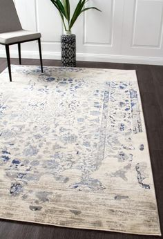 Shop for transitional and distressed style rugs. Rugtastic offers modern rugs that are dispatched in business days from Sydney and Melbourne. Dark Blue Rug, Blue Grey, Shed Colours, Blue Furniture, Transitional Decor, Transitional Kitchen, Oriental Design, Trendy Colors, Vivid Colors