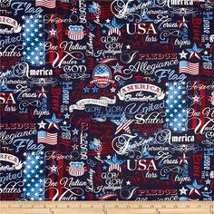 Timeless Treasures American Pride Patriotic Words Navy from @fabricdotcom  From Timeless Treasures, this cotton print fabric features American flags and patriotic words. Perfect for quilting, apparel and home decor accents. Colors include white, cream and shades of red and blue.