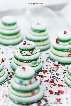 Miętowe makaroniki świąteczne | Moje Wypieki