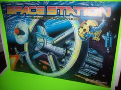 Williams SPACE STATION 1987 Original NOS Pinball Machine Translite Artwork Sheet #WilliamsSpaceStation