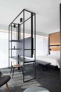 Hotel bedroom design - Hotel Monville impresses guests with sleek angles and space for art thanks to the innovations of ACDF Architecture – Hotel bedroom design Contemporary Bedroom, Modern Bedroom, Modern Hotel Room, Master Bedroom, Master Suite, Bedroom Neutral, Contemporary Chairs, Bedroom Small, Trendy Bedroom