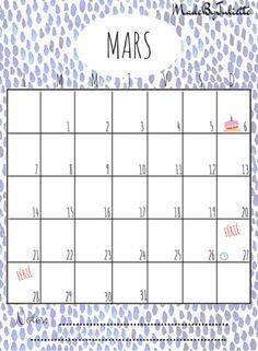 - MARS 2016 - Imprimes le calendrier pour customiser ton agenda. A voir: vidéo sur ma chaîne!