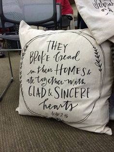 Our Acts 2:46 Tea Towel into a beautiful pillow! How fun is this?? http://www.maryandmartha.com