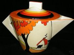 Fall tea pot...Love this.  Thank you for sharing and introducing me to Clarice Cliff.