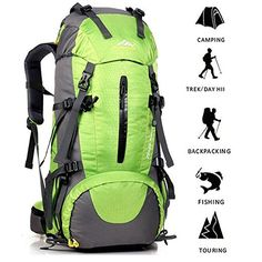 ONEPACK External Frame Hiking Backpack Daypack Waterproof Outdoor Sport Trekking Bag with Rain Cover for Women Men Youth Climbing Mountaineering Camping Fishing Travel Cycling(Green) Waterproof Hiking Backpack, Best Hiking Backpacks, Sports Backpacks, Climbing Backpack, Hiking Bag, Outdoor Backpacks, Hiking Equipment, Cycling, Travel Backpack