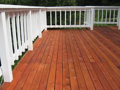 Hand Rail Finish: Cabot Solid Stain, White    Deck Board Finish: Cabot Clear Solution, Pacific Redwood