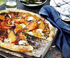 Australian Gourmet Traveller recipe for Pumpkin, goat's curd and thyme tart Pumpkin Tarts, Pumpkin Pizza, Pumpkin Soup, Goats Curd, Rough Puff Pastry, Savory Tart, Savoury Pies, Lassi, Picnic Foods