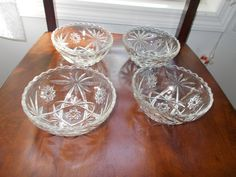 Set of 4 CEREAL Bowls Oatmeal Glass 5 bowls by RomanceWriter