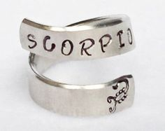Scorpio - Personalized Zodiac Ring - Personalized Ring - Custom Ring - Handstamped Ring - Astrology Ring -Adjustable Ring -Astrological Gift Scorpio is the 8th sign of the #zodiac. For more about #Scorpio and #astrology visit: www.TheAstrologer.com/Scorpio