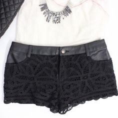 'Battenburg' Vegan Leather and Lace Shorts Gorgeous vegan leather trimmed and lace fully lined black shorts. Order a size up for best fit. In excellent gently used condition. Free People Shorts