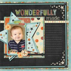 Layout by Kim -- love the lettering and all the colors against the black base page