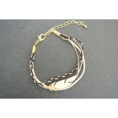 Bracelet plume dorée multiple