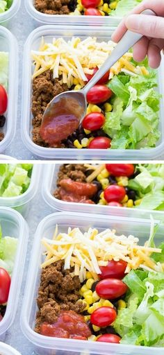 Meal Prep Taco Salad Lunch Bowls-these easy taco salads are filled with taco beef, lettuce, cheese, black beans,corn and salsa!