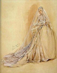 Grace Kelly's wedding dress sketch by Helen Rose.