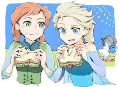 Anna and Elsa eating sandwiches. Cute Frozen, Frozen Movie, Disney Frozen Elsa, Princess Drawings, Princess Art, Jelsa, Anime People Drawings, Freezing Anime, Frozen Comics