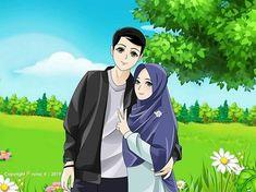 Cute Muslim Couples, Romantic Couples, Cute Couples, Anime Love Story, Islamic Cartoon, Anime Muslim, Hijab Cartoon, Cute Couple Art, Islamic Art
