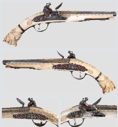 """Beautiful flintlock pistol with ornately carved ivory stock, late 17th century.  The barrel and lock, marked signed """"Lamotte Ainé St.Etienne"""", features elaborate engraving work and gold inlays decorated with oriental trophies, a portrait medallion, a warrior in armour and entwined monsters."""
