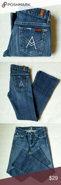 7FAM A-Pocket Bootcut Jean U130B055U  The ?A? Pocket in New York Dark sits comfortably on the hips and features a contoured waistband that hugs you all around. It's slim through the thigh, extending into a wide boot leg for a long, lean look. Featuring 7 For All Mankind?s signature ?A? Pocket design on the back pockets.  7 For All Mankind's original and best selling inky blue wash is on a gorgeous 11oz Italian denim.  98 COTTON 2 SPANDEX   Rise 7.5 Inseam 30  In excellent condition 7 For All…