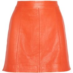 Marc by Marc Jacobs Jett leather A-line mini skirt ($458) ❤ liked on Polyvore