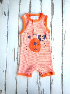Baby Boy 6 Months Onesie, Pirate Onesie, Bear Onesie, Newborn Jumpsuit, Orange Onesie, 6 Months Baby Boy, Funny Onesie, Baby Boy Photoprop by PinkAndBlueSugar on Etsy