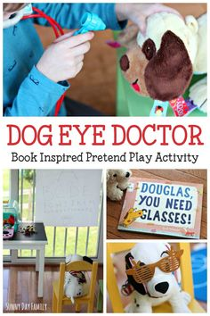 Kids will love playing eye doctor to their stuffed dogs with this fun book inspired pretend play activity. Perfect for preschoolers who love dogs! Check out how easy and fun this pet pretend play activity is - you'll love it!