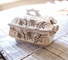 Vintage Small Brown Transferware Tureen with Lid