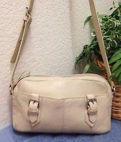f1871ec2bfca Aurielle Beige Leather Organizer Shoulder Handbag Bag Purse