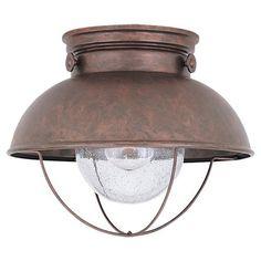 Sea Gull Lighting 8869-44 Outdoor One-Light Close-to-Ceiling Lantern, Weathered Copper Finish by Sea Gull Lighting, http://www.amazon.com/dp/B000BNRFY0/ref=cm_sw_r_pi_dp_soZvrb189E03C