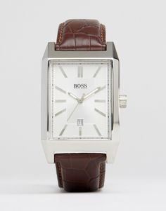 Hugo Boss Square Face Leather Watch In Brown