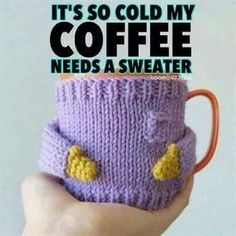 It's so cold, my coffee needs a sweater.