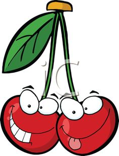 iCLIPART - Cartoon Cherries with Smiling Faces - I just like the character & expression in such a simple drawing (PA)